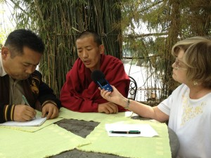 Carole Marks broadcasting from Dharamshala India